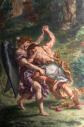 le combat de jacob avec l'ange,delacroix,église saint-sulpice paris,lutte du bien contre le mal,fresque,romantisme pictural
