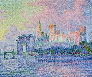 le château des papes,avignon,paul signac,touches pointillistes,pont saint-bénezet,peinture,néo-impressionisme