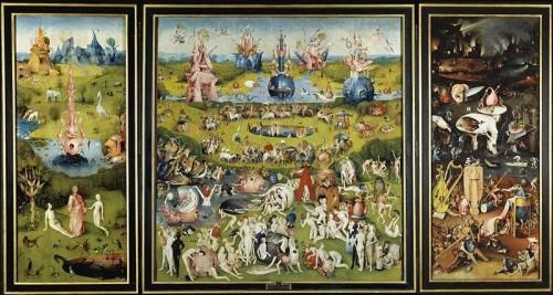 le jardin des délices terrestres,jérôme bosch,triptyque,le paradis terrestre,le jardin des délices,tourments infernaux,fontaine de vie