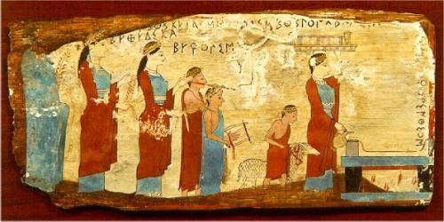 grèce antique,peinture sur bois,culte des nymphes,pitsa