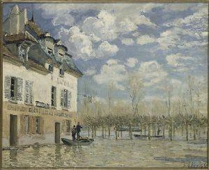 barque pendant l'inondation,alfred sisley,crue de la seine,port-marly,toile impressionniste,peintre anglais de l'école française