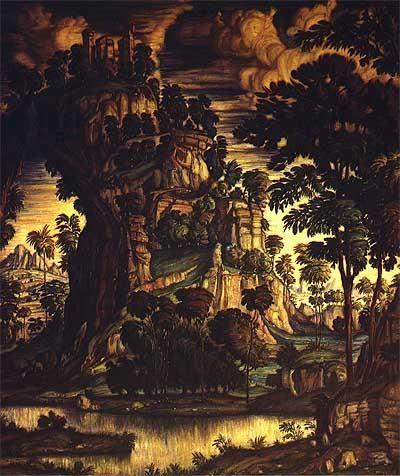 constantin bogaïevski,peintre russe,panneau pour l'hôtel particulier de n.p. riabouchinski,palais au sommet d'un tronc gigantesque