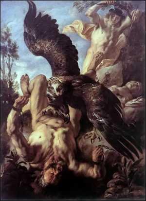 jacob jordaens,peintre naturaliste,le châtiment de prométhée,titan,aigle,caucase,zeus