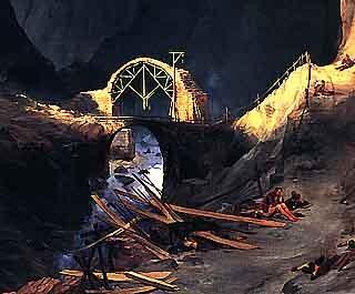 karl blechen,construction du pont du diable,peintre,paysagisme,romantisme allemand