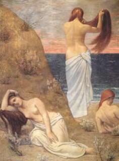 jeunes filles au bord de la mer,pierre puvis de chavannes,peintures murales,art idéaliste