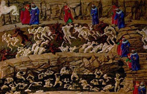 botticelli,l'enfer chant xviii,fresque,chapelle sixtine,vatican,médicis,florence,la divine comédie