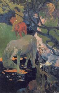 le cheval blanc,gauguin,peinture,tahiti