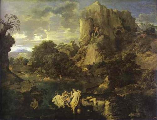 paysage avec hercule,nicolas poussin,mont aventin,géant cacus,boeufs de géryon,peinture