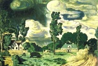 journée venteuse le taureau. nikolaï krymov,peintre russe,romantisme