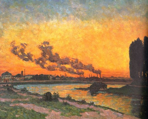 jean-baptiste armand guillaumin,soleil couchant à ivry,peintre,lithographe,impressionniste,pollution