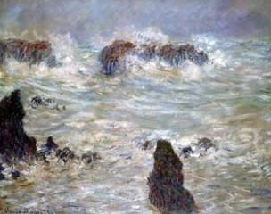 tempête côte de belle-île,claude monet,mer houleuse,rochers