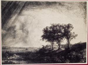 le paysage aux trois arbres,rembrandt,estampes,eau-forte,taille-douce,clair-obscur
