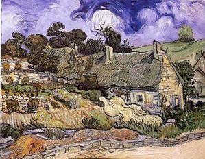 chaumes de cordeville,van gogh,peinture,volutes,toits de chaumes