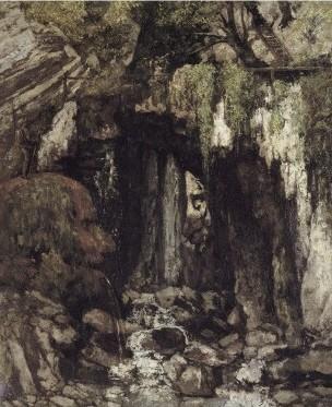 gustave courbet,peintre,paysages fantastiques,le gour de conch,paysage fantastique aux rochers anthropomorphes