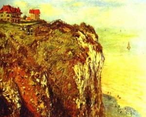 la falaise à dieppe,claude monet,peintre,falaise,à-pic
