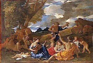 bacchanale à la joueuse de guitare,nicolas poussin,peintre,oeuvres mythologiques,bacchus,bacchantes,fête de la vigne