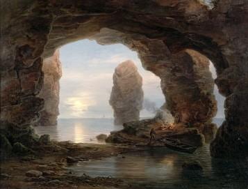 pêcheur dans une grotte helgoland,morgenstern,peintre,panorama,landes de dachau,grotte