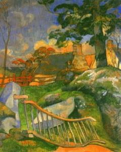 la barrière,gauguin,peinture,paysanne,enclos