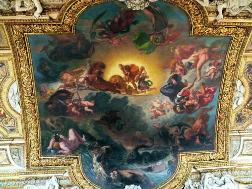 eugène delacroix,apollon vainqueur du serpent python,galerie d'apollon au louvre,char et quatre chevaux,déesses,dieux,victoire,iris