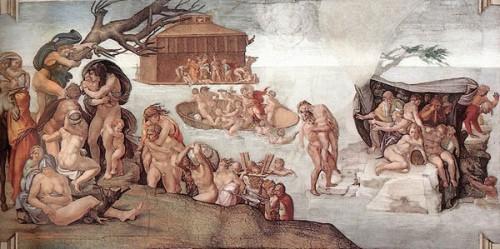 le déluge,michel-ange,peintre,sculpteur,architecte,poète,génie artistique,chapelle sixtine,vatican,arche de noé