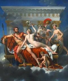 mars désarmé par vénus et les grâces,louis david,huile sur toile,idéalisme,dieu mars,euphrosyne,aglaé,thalie,cupidon