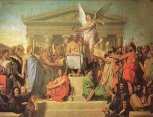 l'apothéose d'homère,ingres,peinture,arts,lettres,école classique,poète épique,l'illiade,l'odyssée