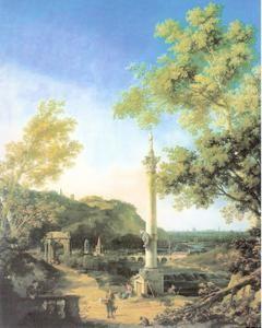 caprice,caprice romain,canaletto,paysage imaginaire,colonnes en ruine,arcades,barque,peintre paysagiste,venise