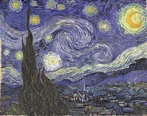la nuit étoilée,van gogh,peinture,volutes