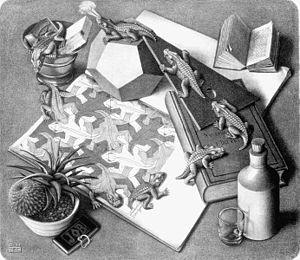 reptiles,maurits cornelis escher,gravures sur bois,illusion optique